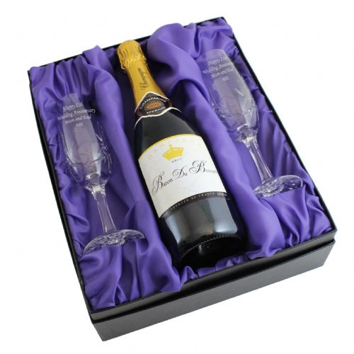Personalised Crystal Pair of Flutes and Champagne with Gift Box